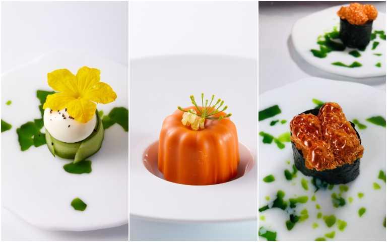 右起為海膽壽司、蔬菜可麗露、馬告豆腐黃瓜。(圖/鹽之華提供)