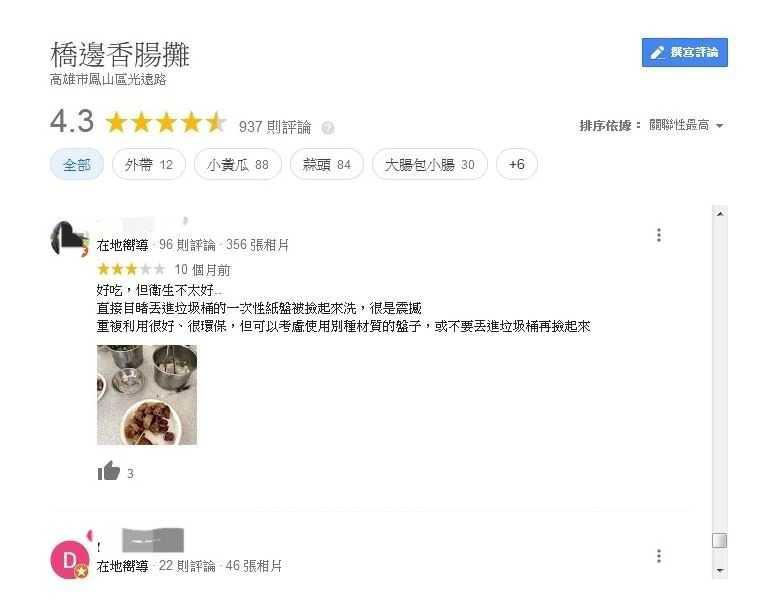 網路評價不只一人反映衛生問題,業者出面喊冤。(圖/翻攝自Google評論)