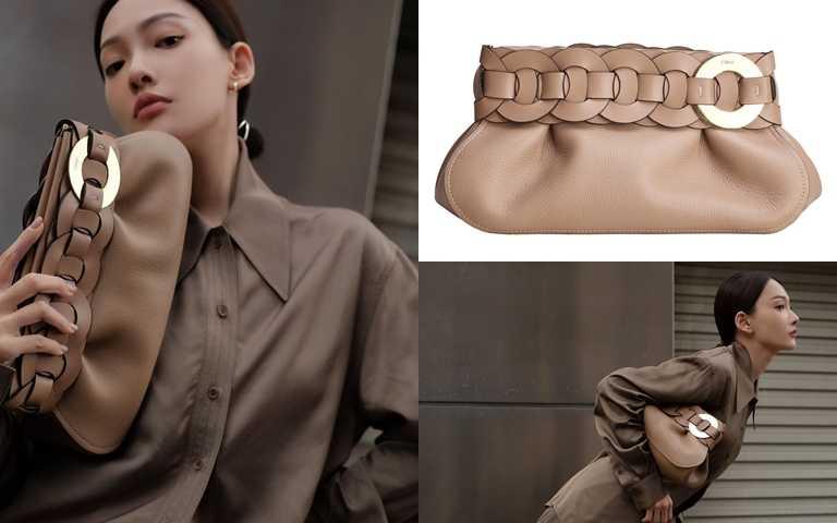 林映唯拿的是Chloe Darry棕色手拿包(47,300元)。(圖/翻攝林映唯IG、品牌提供)