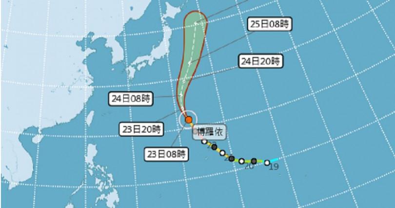 颱風博羅依預測路徑。(圖/翻攝自中央氣象局)