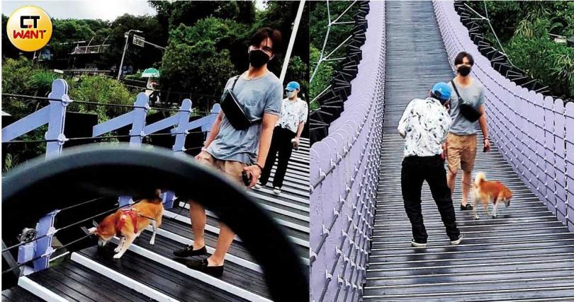 謝佳見被目擊和密友孫瑋廷,帶著愛犬Uni一起出遊。(圖/本刊攝影組)
