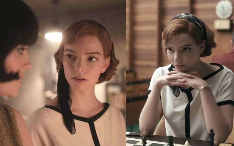 造型師將60年代的髮帶、捲髮帶入貝絲的造型中,仿造造摩納哥王妃葛麗絲凱莉50~60年代的造型。(圖/翻攝自NETFLIX)