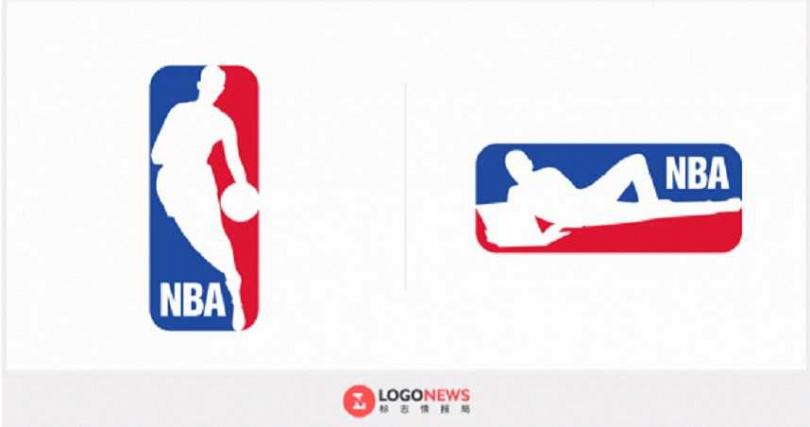 NBA LOGO原本站著打球,如今被設計師Jure Tovrljan改成躺下來玩電腦。(圖/翻自網路)