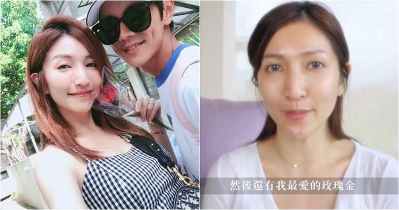 阿翔的老婆Grace素顏在臉書教粉絲化妝,她素顏與完妝後的模樣,引來粉絲討論。(圖/翻攝臉書)
