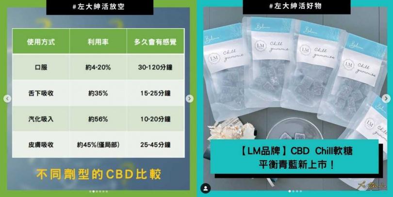 左撇子在網路上宣傳並販賣CBD製品。(合成圖/CJcqxaqnUDD IG)