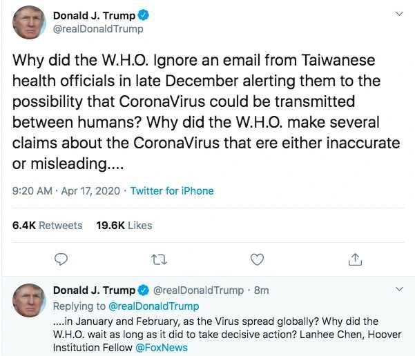川普質疑WHO,為何不理會台灣官員所發的示警郵件。(圖/翻攝自推特)