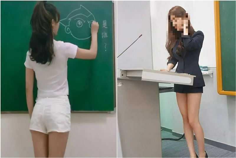 24歲女教師修長美腿讓學生全暴動?(圖/翻攝自微博)