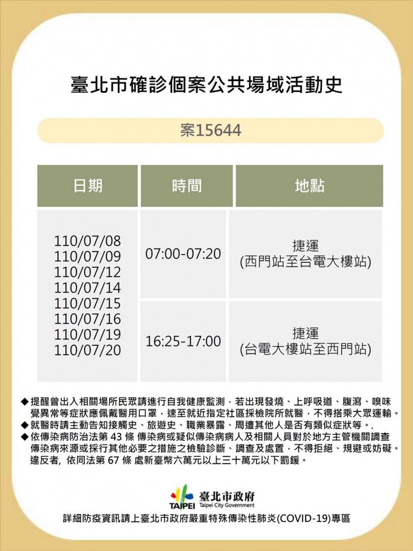 台北市衛生局公布個案15652確診者足跡。(圖/北市衛生局提供)