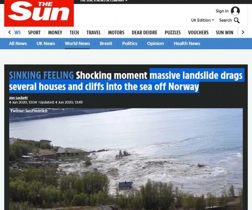 挪威罕見土石流,8棟房屋直沖大海。(圖/The Sun)
