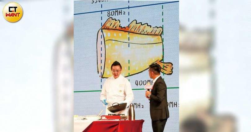 遠傳強調在主要頻段3.5GHz標到3340MHz至3420MHz共80MHz頻寬,順利取得「魚肚」精華部位。(圖/馬景平攝)