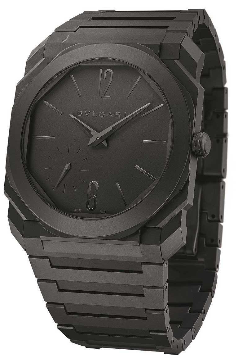 BVLGARI「OCTO FINISSIMO系列」自動上鍊陶瓷腕錶╱超薄陶瓷錶殼,黑色陶瓷錶盤,陶瓷錶鍊,40mm╱510,000元。(圖╱BVLGARI提供)
