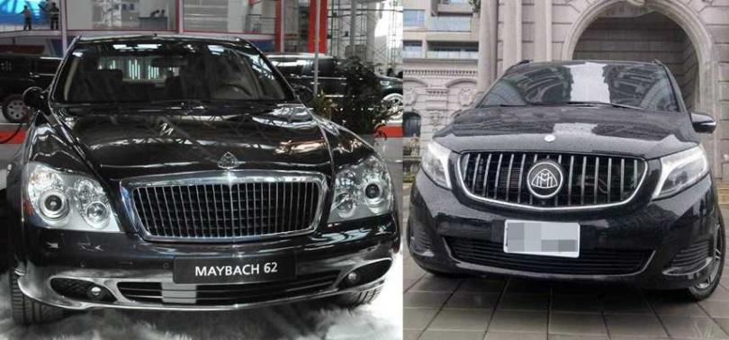 鍾男對外號稱保母車是頂級豪車邁巴赫(Maybach)(左),號稱價值千萬,全台僅此一輛,但實際上卻是拼裝車(右)。(圖/新華社、讀者提供)