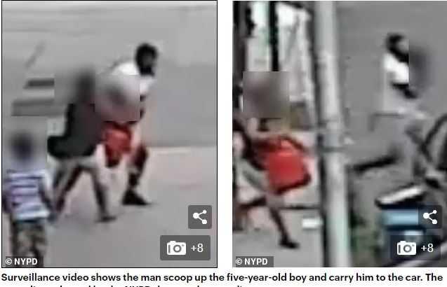 男子將五歲男童抱起後帶到車上,企圖綁架。(圖/翻攝自Dailymail)
