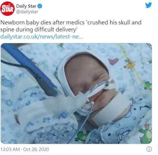 孕媽到醫院分娩卻陷入難產,未料男嬰頭骨與脊椎卻因此受到嚴重創傷。(圖/翻攝自@dailystar Twitter)