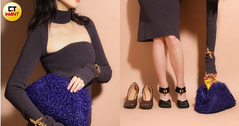 Bottega Veneta Dress in Kint Silk 洋裝/115,00元、Bottega Veneta The Sponge Pouch in Nappa/約255,200元、Bottega Veneta Pumps in Shiny Calf 繫帶跟鞋/約31,250元、Bottega Veneta Padded Bloc Pumps 跟鞋/30,000元、Chloe Anouk Cuff 手環/價格未定。(圖/戴世平攝)