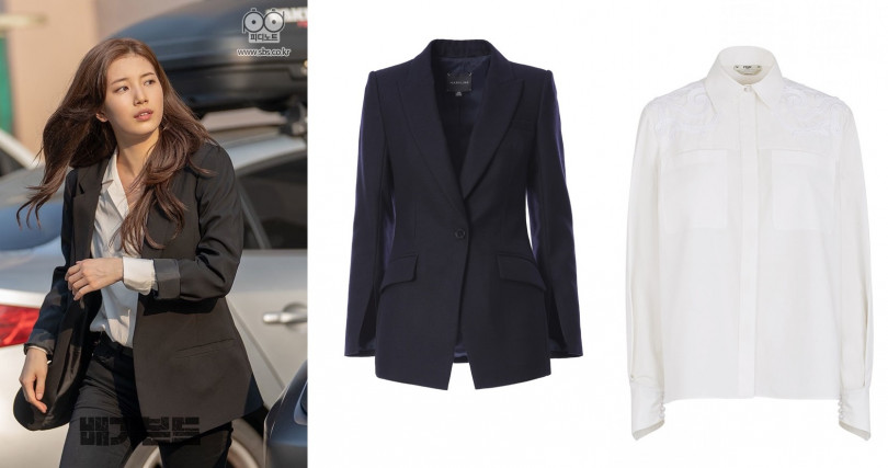 (右)MARYLING Classic blazer with slits in sleeves/19,480元,(左)FENDI 白色長袖襯衫/37,500元(圖/翻攝網路、品牌提供)