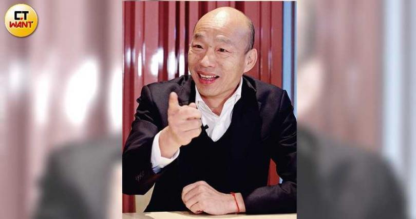 專訪過程中,韓國瑜語氣輕鬆且神情自若,展現自信心。(圖/趙世勳攝)