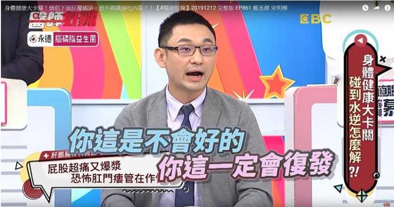 張振榕表示男子的肛門膿瘍需接受手術治療,不然會復發。(圖/醫師好辣YouTube)