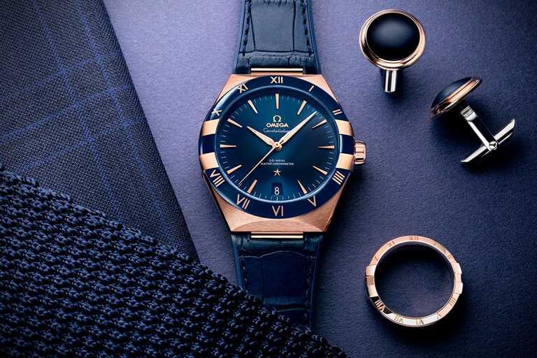 OMEGA「Constellation星座系列」同軸擒縱大師天文台腕錶,18K Sedna金錶殼,41mm╱667,800元。(圖╱OMEGA提供)