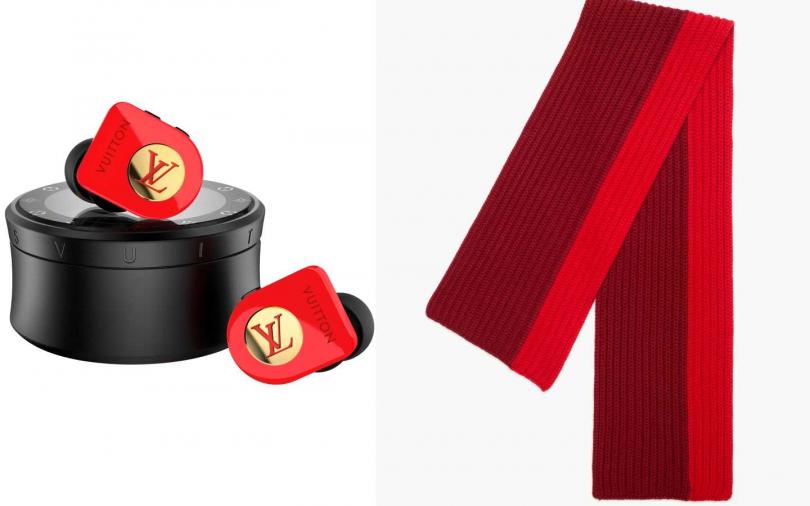 LOUIS VUITTON Earphones Horizon Red耳機/35,300元;LORO PIANA Maglia Inglese Bicolor 圍巾/19,200元。(圖/品牌提供)