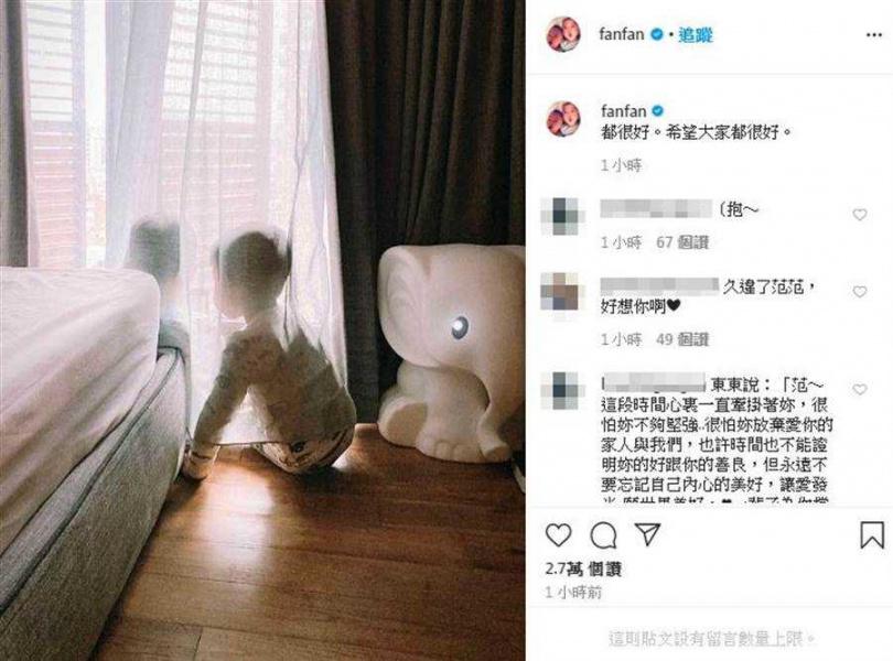 范瑋琪在神隱兩個多月後,昨天首度發聲。(圖/翻攝自IG)