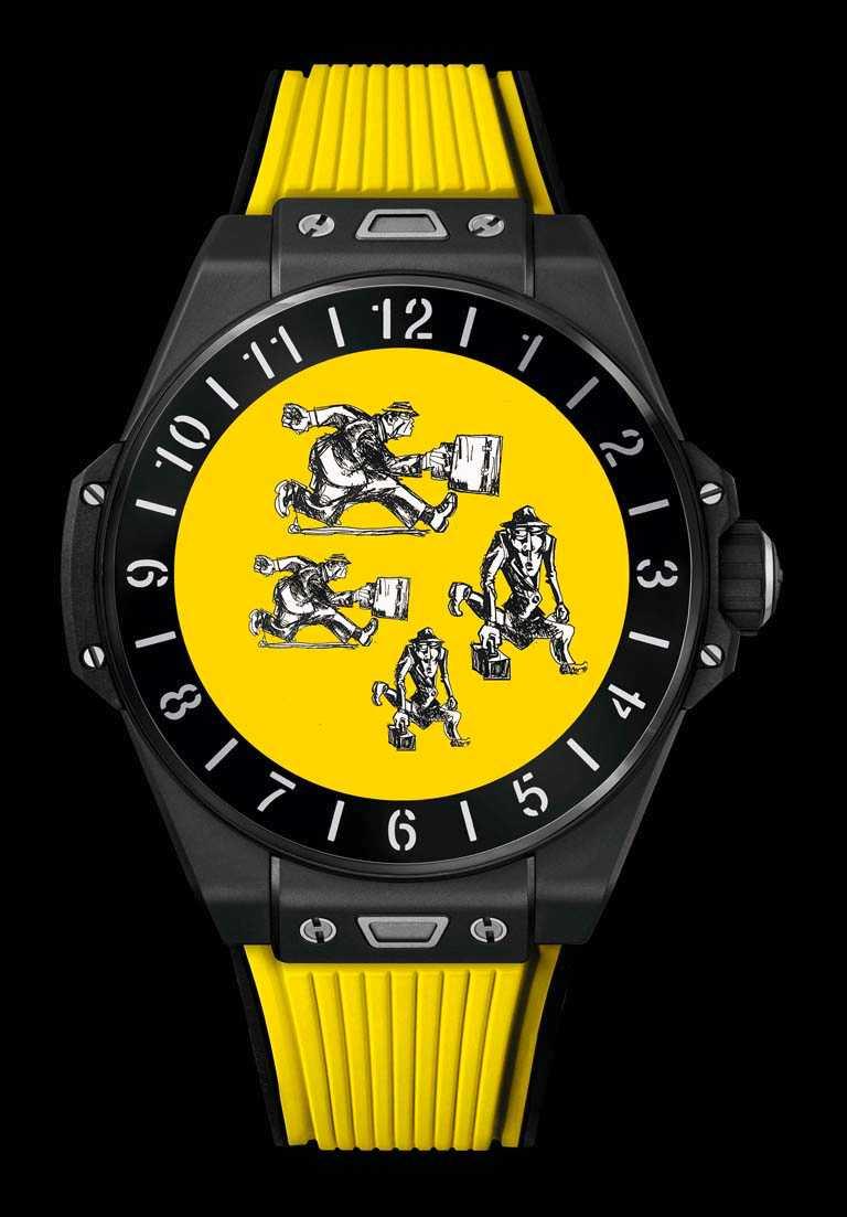 HUBLOT「BIG BANG e智能腕錶」黑色陶瓷款(歡樂黃),微噴砂拋光黑色陶瓷錶殼,42mm╱180,000元。(圖╱HUBLOT提供)