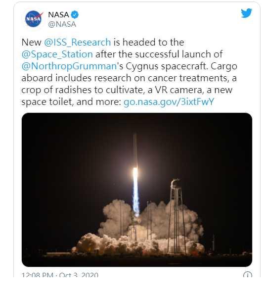美國太空總署10月2日向國際太空部發射補給船,其中一項補給品是太空廁所。(圖/NASA Twitter)