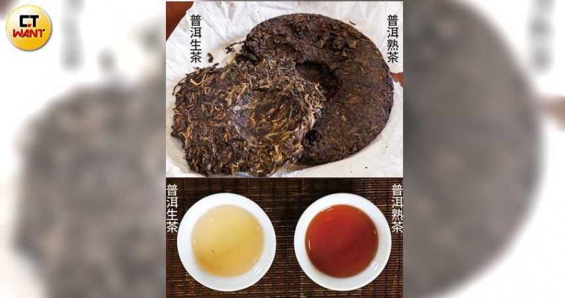 普洱生茶葉色較青,湯色較淡,呈黃綠或黃橙色;熟茶葉色較深,湯色濃,偏紅甚至栗紅色。圖為同為2010年生產的生普與熟普之比較。(圖/王永泰攝)