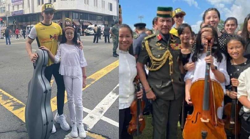 吳尊的女兒NeiNei,在汶萊國慶日表演大提琴。(圖/翻攝吳尊微博)