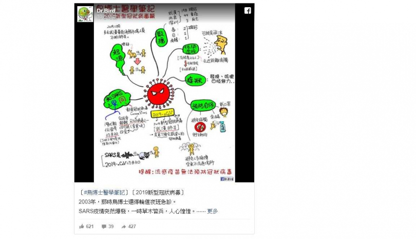 武漢肺炎疫情的感染源仍未明朗,「鳥博士」呼籲從4大自保守則做起。(圖/翻攝自臉書)