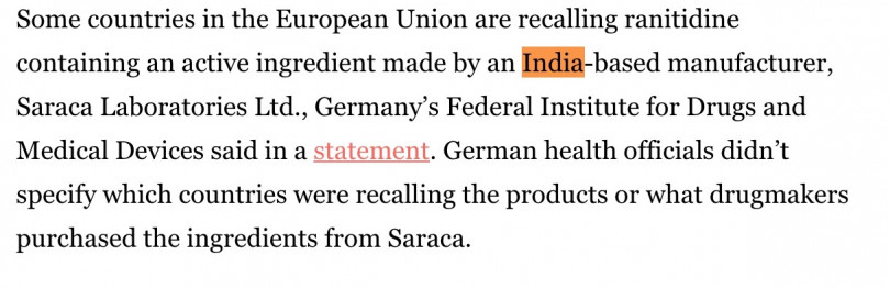 這次出事的原料,來自於印度Saraca Laboratories,食藥署難道不用先去了解台灣藥商進口的原料來源,就全部「一視同仁」?(圖/擷取自https://www.latimes.com/business/story/2019-09-18/carcinogen-scare-tainted-zantac)