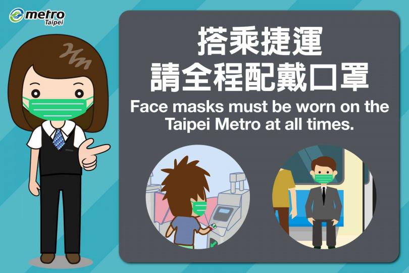 台北捷運4月4日起強制規定乘客須戴口罩才能搭乘,經勸導不聽,可罰鍰3000至15000元不等,且拒絕載送。(圖/台北捷運臉書)