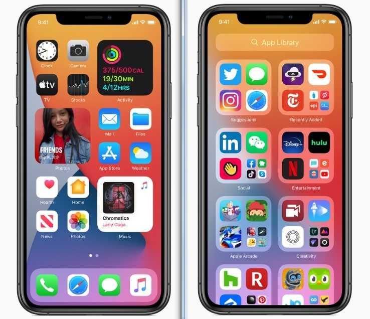 iOS 14裡的App圖示可以變成原來的四倍大小(左圖);使用者也可自訂App資料庫,將這些App分門別類(右圖)。(圖/Apple提供)