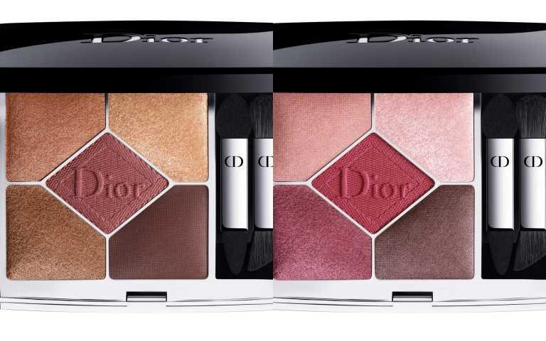 彩盤的中央色選壓印著宛如精心繡製的全新Dior Logo字樣;全新設計的眼影刷讓上妝更服貼、更便利。Dior經典五色眼影#689(左) #879(右)/2,450元(圖/品牌提供)