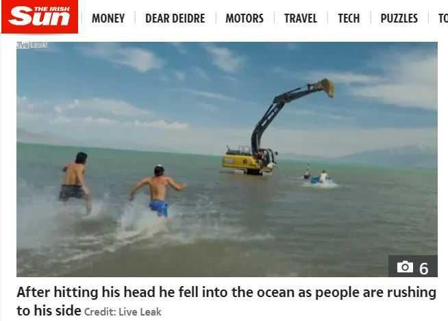 傑夫和另一名網紅合作當「人肉鐘擺」,過程中卻撞上挖土機落海受重傷險死。(圖/翻攝自太陽報)