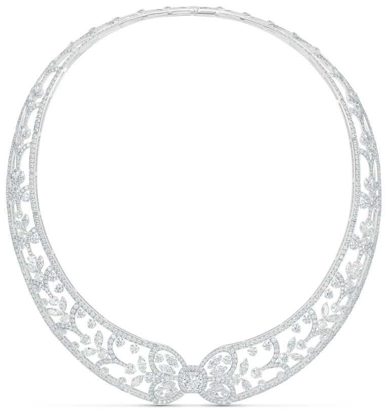 DE BEERS「Reflections of Nature」系列高級珠寶,Ellesmere Treasure鑽石項鍊╱15,400,000元。(圖╱DE BEERS提供)