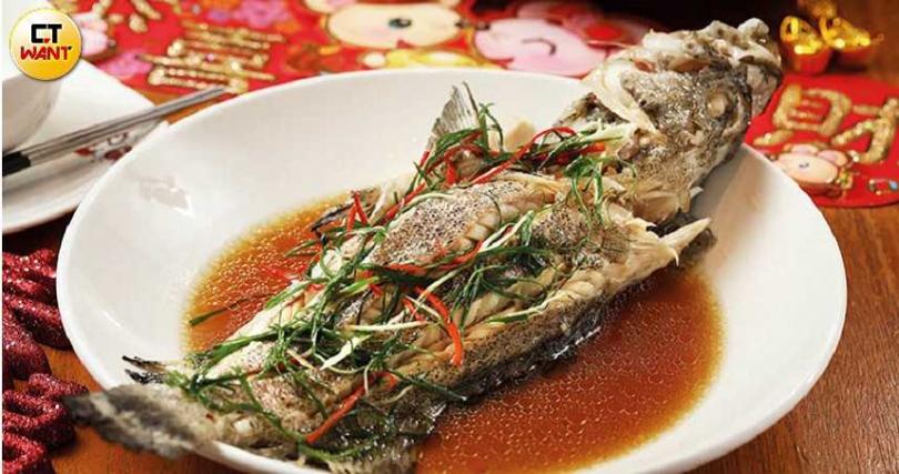 鮮美的「蔥椒清蒸海石斑」,想吃得提早預約。(套餐)(圖/于魯光)