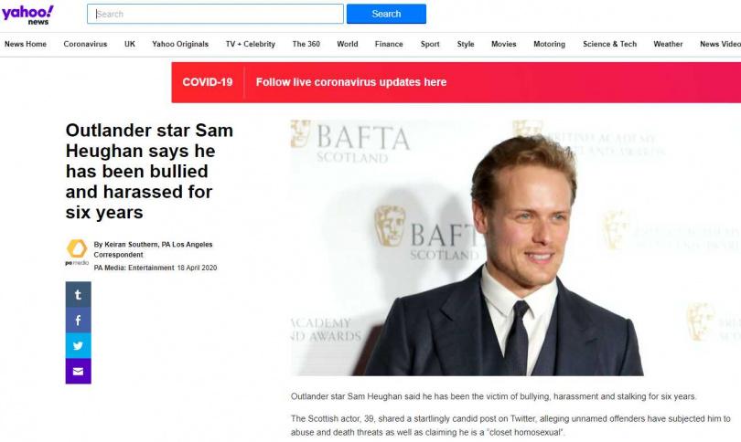 蘇格蘭男星山姆修根透露,自己飽受某些粉絲的惡意騷擾、攻擊。(圖/Yahoo News)