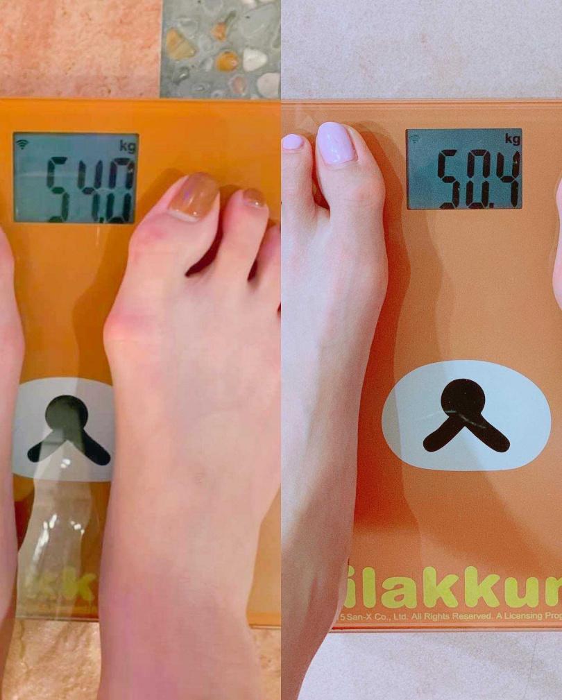 茵茵靠著努力運動,從54公斤瘦到50.4公斤。