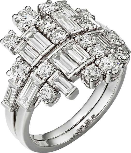 Cartier「Reflection de Cartier」系列鑽石戒指,白K金鑲嵌鑽石。(圖╱Cartier提供)