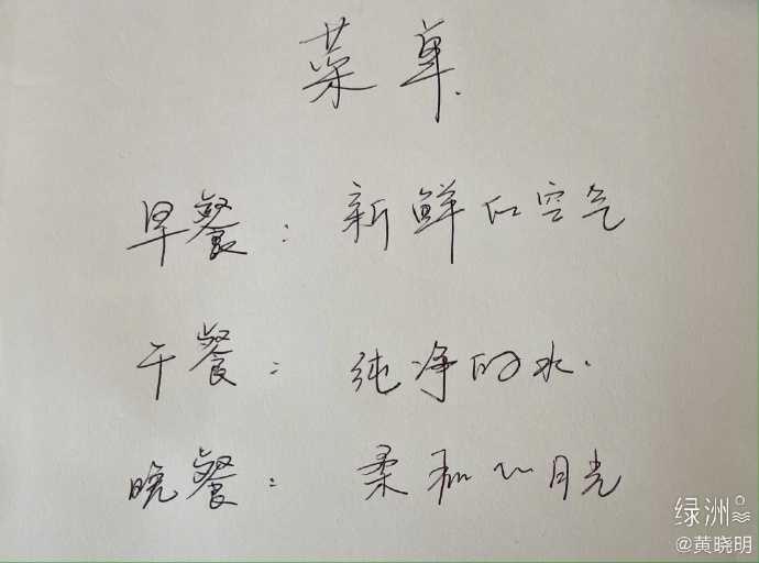 黃曉明在微博上公開一日菜單。(圖/翻攝自黃曉明微博)