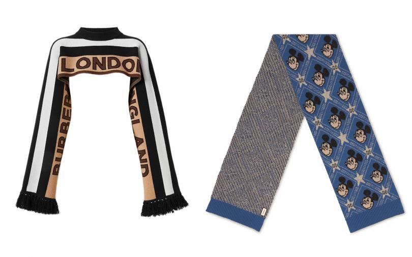GUCCI米奇經典藍編織圍巾/17,500元、BURBERRY標誌細節喀什米爾提花附衣袖小披肩/25,500元(圖/品牌提供)