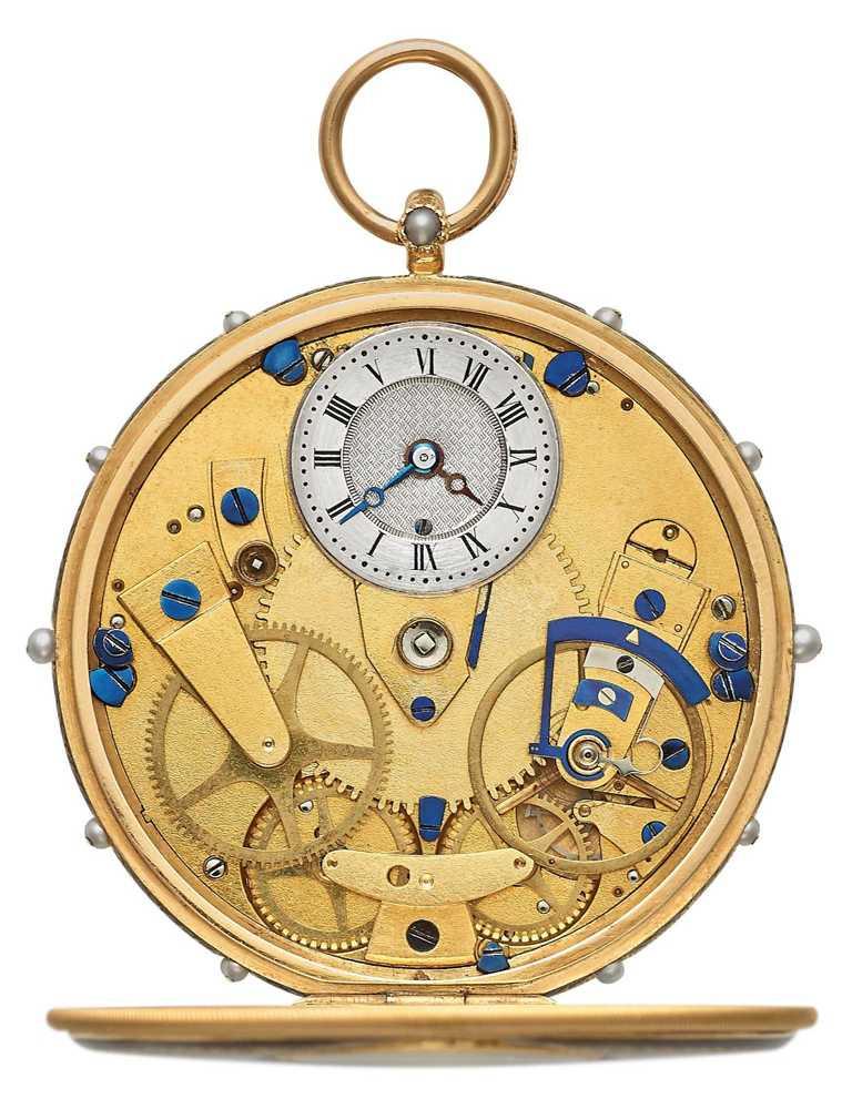 BREGUET「Tradition傳世」系列腕錶,設計靈感源自「Subscription」懷錶,機芯完整可見,並呈現完美的對稱設計。(圖╱BREGUET提供)