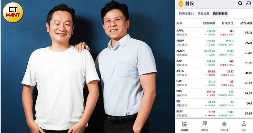 工程師出身的Gucci,與黃佳文等志同道合的股友一同創辦股股學院,並開發同名App,App中可看到以中文呈現的美國企業財報。(圖/王永泰攝、翻攝自股股App)