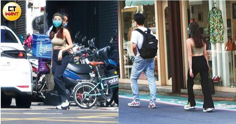 穿著細肩帶背心秀身材的凱莉,從自家搭車出發與比利碰面,再一同驅車離去。(圖/本刊攝影組)