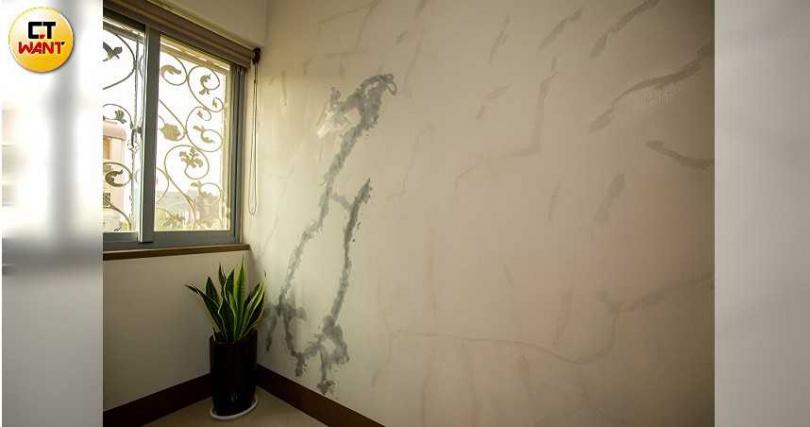 宋家屋內每一道牆面出現明顯龜裂,自行修補後,看起來就像肥胖妊娠紋,慘不忍睹。(圖/宋岱融攝)