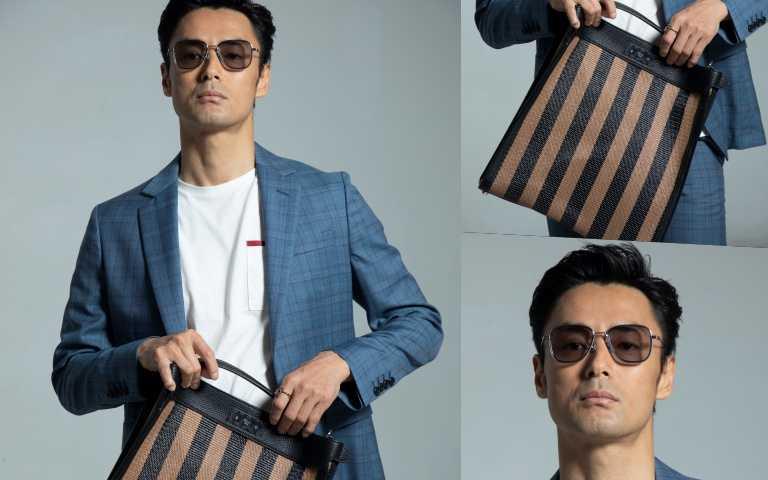 (左)PAUL SMITH藍色格紋成套西裝/價格未定。(右上)FENDI 包款/34,900元。(右下)FAKEME太陽眼鏡/8,400元。(圖/莊立人攝)