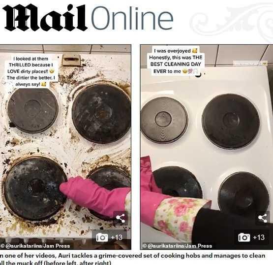 經過奧莉清潔後,骯髒的爐子和咖啡機都變得非常乾淨。(圖/翻攝自每日郵報)