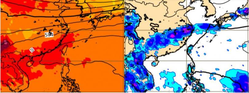 最新(8日20時)歐洲模式10天的模擬(18日20時)仍顯示,500百帕高空的太平洋高壓勢力偏強,籠罩台灣上空(左);地面氣壓及雨量圖的「滯留鋒」則僵持在長江流域(右)。(圖/「三立準氣象· 老大洩天機」專欄)