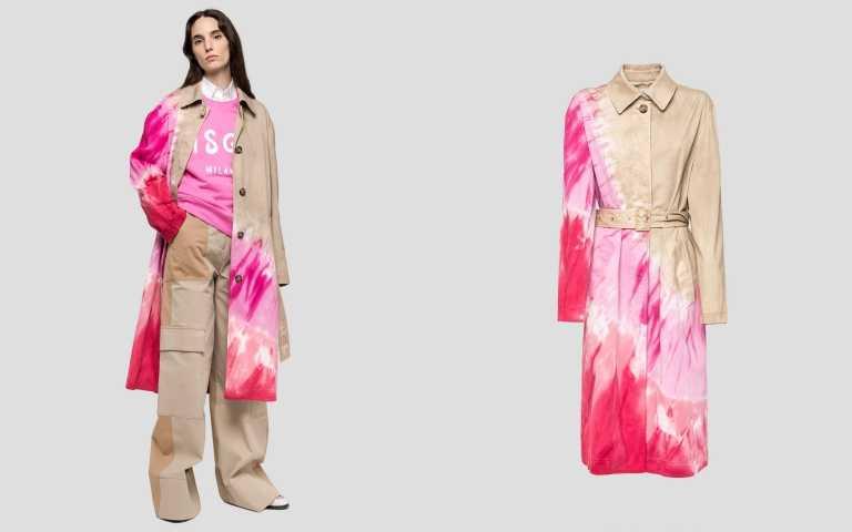 以紮染的方式為經典的風衣創造出對比感。MSGM Trench Coat in Tie Dye Gabardine 風衣/約38,250元(圖/品牌提供)